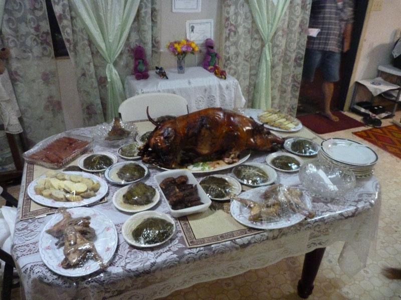 Lu sipi, manioke, fish, mussels, sweet potato, raw fish and taro, Tonga