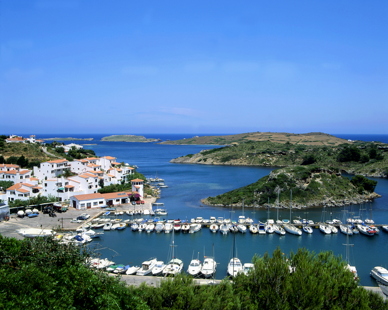 Sailboats in an inlet on the Spanish island of Minorca