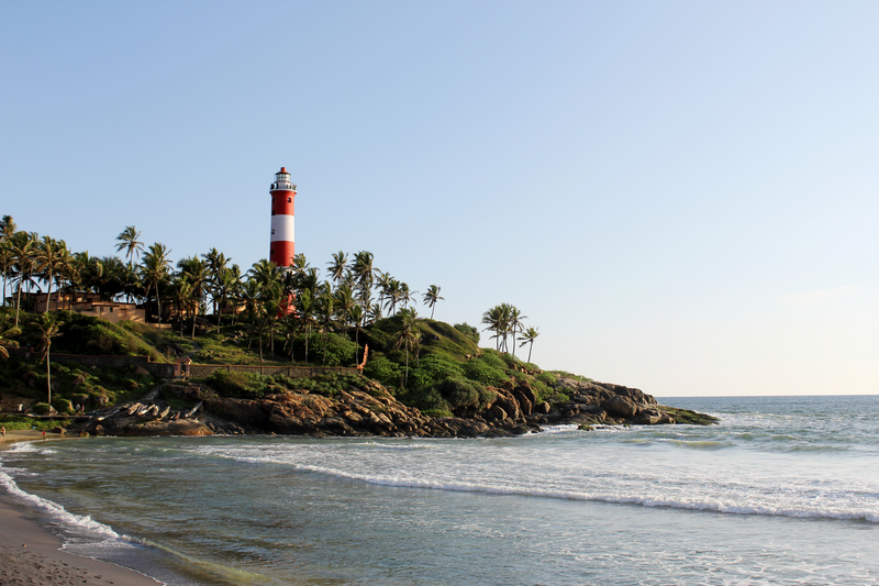 Tall standing lighthouse at the end of Arabian Sea, Kerala, India
