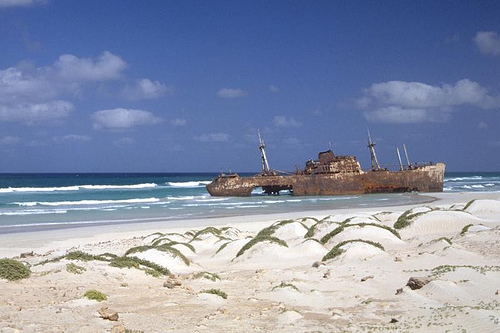 Wreck on the beach at Boa Vista, Cape Verde by YXO on flickr