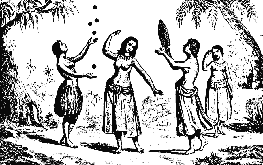 Tongan women performing hiko (juggling) in Vava'u, Tonga (circa 1793)