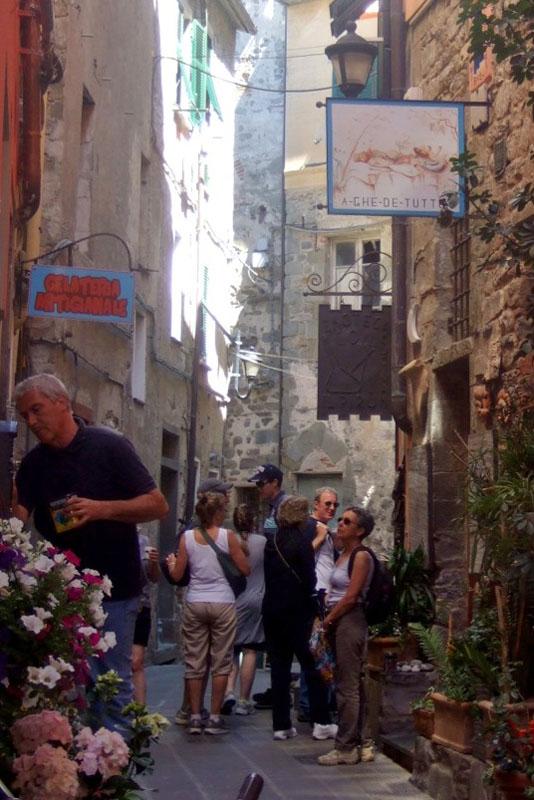 Corniglia street and shops, Cinque Terre, Italy
