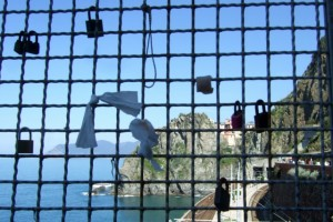 Locks on Via dell'A,ore in the Cinque Terre Italy