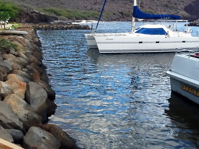 Yacht at Harbor Manele Bay, Lana'i, Hawaii  Photo by R. Kongaika