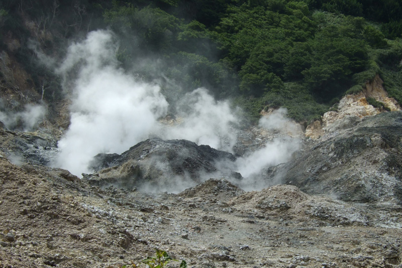 Sulfur fumaroles at Soufriere
