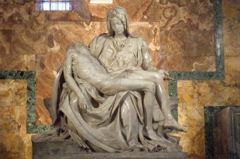 The Pieta, Virgin Mary holding Jesus