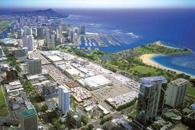 Ala Moana Shopping Center from above with Diamond Head in the back, Oahu, Hawaii