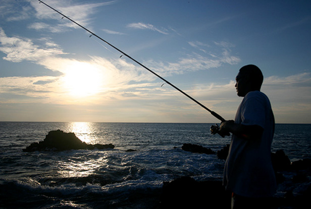 Fishing at Yokahuma Bay,Oahu, Hawaii