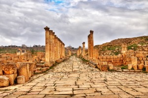 Ancient roman columns and paved streets in Jerash, Jordon